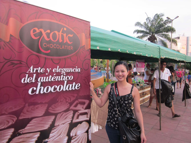Amy at chocolate fair.